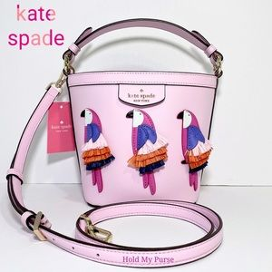 Kate Spade Pippa Flock Party Parrot Pink Bag NWT